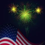 United States flag and celebration 4th of July golden green fire. United States flag and celebration golden green fireworks vector background. Independence Day stock illustration