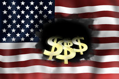United States flag dark black hole Royalty Free Stock Images