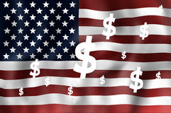 United States flag dollar Royalty Free Stock Photos