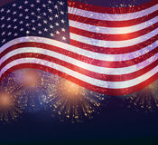 United States flag. Fireworks background for USA Independence Day. Fourth of July celebrate Stock Photo