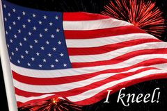 USA Flag with fireworks Royalty Free Stock Image