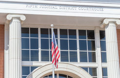 United States flag flies at the courthouse in Saint George Utah. The Fifth Judicial District courthouse at Saint George Utah Stock Images