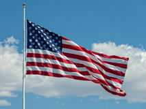 United States Flag. The United States Flag flying in the breeze stock photos