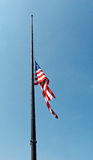 United States flag flying at half mast Royalty Free Stock Image