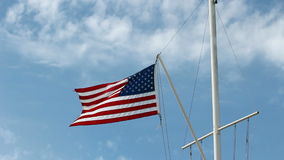 United States Flag Flying From Nautical Flagpole. US Flag Flying In Gentle Breeze Nautical Flagpole stock video footage