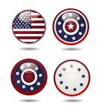 United States Flag Glossy Buttons. Vector Royalty Free Stock Image
