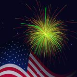United States flag and golden red green fireworks. United States flag and celebration golden red green fireworks vector background. Independence Day, 4th of July Royalty Free Stock Image
