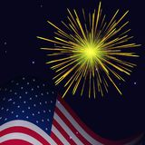 4th of July golden yellow fireworks. United States flag and golden yellow fireworks vector background. Independence Day, 4th of July holidays salute greeting royalty free illustration