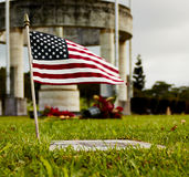 United States Flag on Grave Marker Royalty Free Stock Image