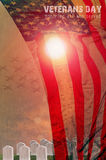United States Flag and Grave stones in a row  in the sun light f Royalty Free Stock Photography