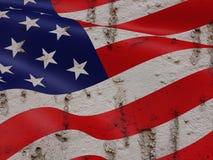 United States Flag On Grunge Wall Background Royalty Free Stock Image