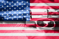 United States flag Gun Control USA. United States Gun Law. S Stock Photo