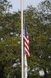 United states flag at half staff on 7 december 2017. USA FREEWAY 95 / FLORIDA / USA - 07 2017.- United states f�ag at half staff thursday december 7, 2017 stock photo