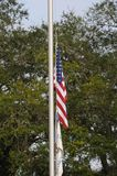 United states flag at half staff on 7 december 2017. USA FREEWAY 95 / FLORIDA / USA  - 07 2017.- United states f�ag at half staff thursday december 7, 2017 in Stock Photo