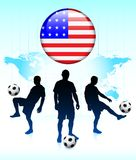 United States Flag Icon with Soccer Team Stock Photo