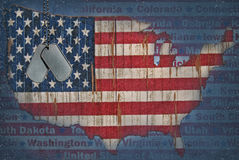 United States flag map Stock Photos