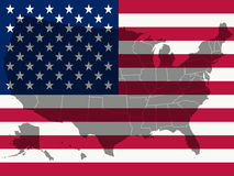 United states flag and map Stock Image