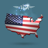 United States flag map. Design with text symbol Royalty Free Stock Photos