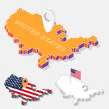 United States flag on map element with 3D isometric shape isolated on background Royalty Free Stock Photography