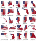 United States flag maps From A to M Royalty Free Stock Photo