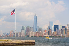 United States Flag with New York Skyscrapers Royalty Free Stock Photo
