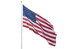 Free United States Flag On A Pole Waving Isolated On White Background Stock Photography - 152563972