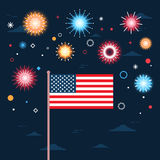 United States Flag Over Fireworks Background Independence Day Holiday 4 July Banner. Flat Vector Illustration Royalty Free Stock Image