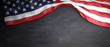United States flag placed on blackboard background with copyspace. 3d illustration. USA flag placed on chalkboard background with copyspace. 3d illustration Stock Image