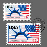 United States flag postage stamp. Vector illustration. Royalty Free Stock Photos