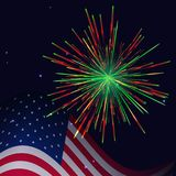 United States flag and red green fireworks Stock Photography