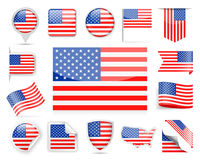 United States Flag Vector Set Stock Photography