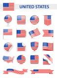 United States Flag Vector Set Stock Image