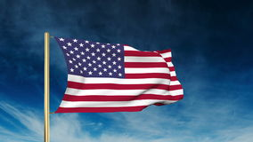 United states flag slider style. Waving in the win stock footage