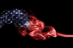 United States flag smoke isolated on a black background. United States flag smoke, US flag isolated on a black background Royalty Free Stock Photos
