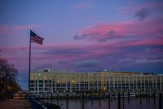 The United States flag at the sunset on the Hudson river in New Jersey. 1 stock images