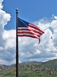 United States Flag. The U.S. flag flies above the visitor center at Garden on the Gods in Colorado royalty free stock images