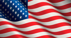 United States Flag Vector. National flag of United States of America in form of wave. Closeup vector illustration Stock Photography