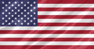 United States Flag. With waving on satin texture vector illustration