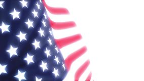 United States flag waving in the wind. On white background stock footage