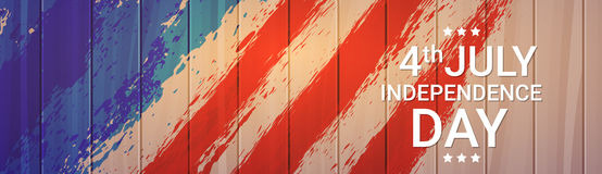 United States Flag Wooden Texture Independence Day Holiday 4 July Banner. Vector Illustration Royalty Free Stock Image