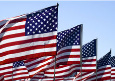 United States flags Stock Photo