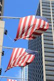 United States flags. Flags of the United States in Philadelphia city Royalty Free Stock Photo