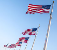 United States Flags Flying in the Wind  1 Stock Images