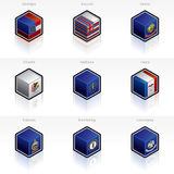 United States Flags Icons Set. Design Elements 58b, it's a high resolution image with CLIPPING PATH for easy remove unwanted shadows underneath Stock Photo