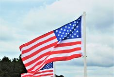 United States Flags Waving in The Wind royalty free stock photos