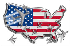 United States Flight Routes. United States Flag illustrated as a Fridge Magnet or metal badge with airlines Stock Photos