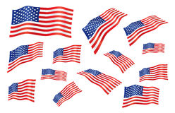 United states fly-away flag. Vector set of united states fly-away flag Royalty Free Stock Photo