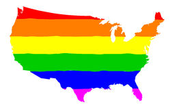 United States Gay Pride Flag. The mult coloured gay pride silk flag with United States of America map silhouette Stock Images