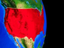 United States on globe from space. United States on realistic model of planet Earth with country borders and very detailed planet surface. 3D illustration stock illustration