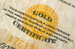 United States Gold Currency Note (Certificate) Stock Photo